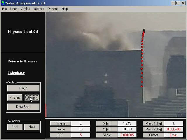 This is a measurement of the motion of WTC 7 using Physics Toolkit.  The following lab uses Tracker, which is a more powerful, more flexible, easier to use tool.